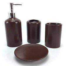 Ceramic Bath Accessory Set 4 Pieces Bathroom Accessories Decor Vanity Set Brown