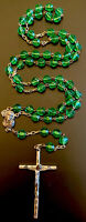 Vintage Catholic Green Glass 5 Decade Rosary, Silver Tone Crucifix Italy