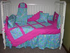 CRIB BEDDING SET MADE/W HOT PINK & DISNEY TINKERBELL FAIRIES FABRIC