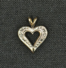 14k Yellow Gold Diamond Heart Pendant - Gently Used - J-223A