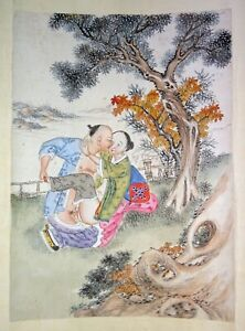 19C Chinese Erotic Pillow Color Paintings for Newly Married Couple (SoM)#4