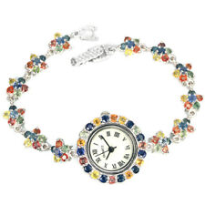 Reloj de pulsera 925 plata esterlina genuino color fantasía Zafiro 7 in (approx. 17.78 cm) #2
