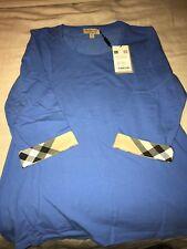 New Burberry Women T-shirt Blouse 3/4 sleeve Nova Check Plaid Blue XS S M L $195