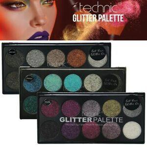 Technic Makeup Pressed Glitter Palette Pressed Powder Highly Pigmented Shades