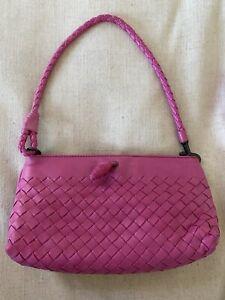 Bottega Veneta Intrecciato Leather Shoulder Bag Clutch Pink Pouch