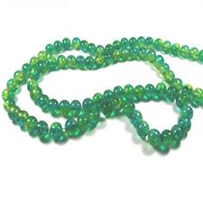 100 Perles 6mm en Verre Craquelé Vert Jaune Bleu pour la Création de Bijoux