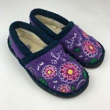 SHINE BRIGHT Acorn GIRL'S Purple Slip On SLIPPER House Shoe FLOWERS Sz 10-11