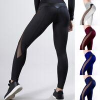 Femme Mesh Taille Hauts Fitness Patchwork Leggings de Yoga Stretch Pantalons 25