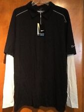 New Men Nike Golf Black Long Sleeve Performance Graphic Layer Polo Size L