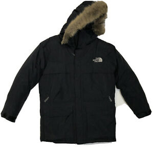 The North Face Boys Black Hyvent Parka Faux Fur Trimmed Hooded Jacket Size L
