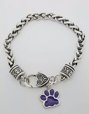 Purple Paw Print Dog Cat Charm Dangle Fashion Silver Tone Clasp Bracelet