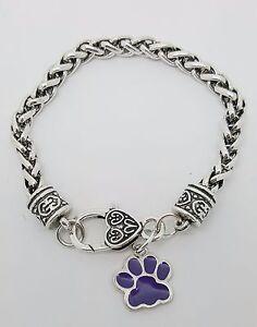 Purple Paw Print Dog Cat Charm Dangle Fashion Silver Tone Clasp Bracelet