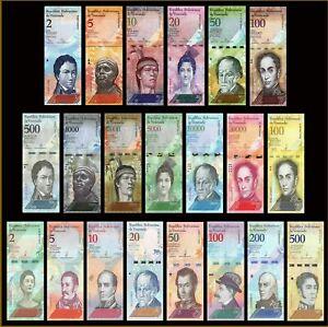 Venezuela Full Set 21 Pieces, UNC, 2-100000 Bolivares 2-500 Soberanos 2007 2019