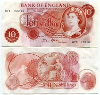 """GREAT BRITAIN 10 SHILLINGS ENGLAND P 373 """"M"""" PREFIX REPLACEMENT AUNC SEE SCAN"""