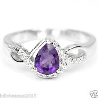 1.13 Carat Natural AAA AMETHYST Pear WHITE CZ 925 Sterling Silver Ring Sz 6.75