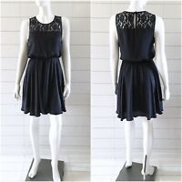 Forever 21 Dress Womens Size Medium Navy Blue Fit Flare Sleeveless Lace Panel