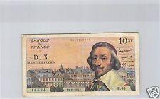 FRANCE 10 NOUVEAUX FRANCS RICHELIEU 3.12.1959 ALPHABET E.46 RARE !!!