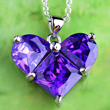 Gifts Heart Shape Love Style Amethyst Gemstone Silver Necklace Pendant Free Ship