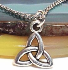 """CELTIC KNOT_Small Pendant + 18"""" Chain Necklace_Triquetra Irish Trinity Pagan_40N"""
