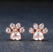 2018 Women Cute Cat Paw Rose Gold Earring Pink Claw Print Dog Paw Stud Earrings