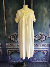 Vintage 1960s Embroidered Cotton & Lace Satin Tie Peignoir SMALL Robe LEONORA