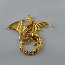 2pcs Gold Alloy Flying Dragon Charms Pendant Necklace Jewelry Findings 38436