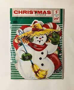 Vintage Christmas Decoration Cutouts Eureka USA Pack Includes 5 Cutouts