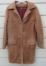 Vintage Light Brown Suede Longline Fashion Overcoat Wms 10 12