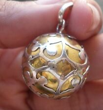 925 Sterling Silver-IL10-Balinese Chime Ball Pendant Gold Brass Filigree 18MM