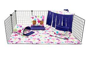 C&C fleece cage liner set, guinea pig, small animals, rainbow stars.