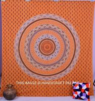 Indian Mandala Printed Yellow Tapestry Cotton Decor Bohemian Bedspread Bedcover