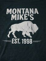 Montana Mikes Steakhouse Mens T Shirt Size L Gray Short Sleeve Crewneck
