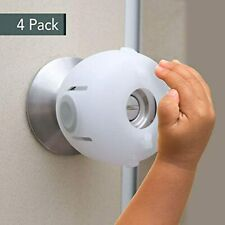 Door Knob Safety Cover, Child Lock, Kids Toddler Proof Doors 4 Pack/White By
