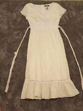 JUST FOR WRAPS Peasant Dress Size 8 Cream Hippy Gypsy Prairie Gunny Sax 70's