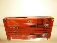 NEW RAY IVECO STRALIS TRUCK+TRAILER - SCUDERIA FERRARI - RED 1:43 -GOOD IN BOX