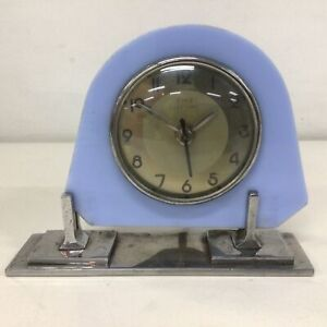Vintage Tink Electric Blue and Chrome Clock Made in Melbourne, Australia #5317