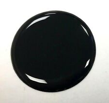 28mm DIAMETER BLACK ROUND STICKER WITH TOUGH HARD WEARING HIGH GLOSS DOMED GEL