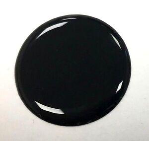 4 x 20mm DIAMETER BLACK ROUND STICKER - PATCH - HIGH GLOSS DOMED GEL