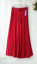 Women Pleated Retro Maxi Long Skirt Elastic Waist with Belt Chiffon Dance Dress