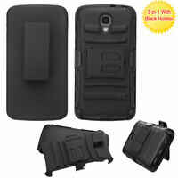 For LS740 Volt Black Advanced Armor Stand Protector Cover (With Black Holster)