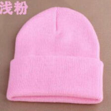 Men's Women Beanie Knit Ski Cap Hip-Hop Blank Color  Warm Unisex Wool Hat 1#