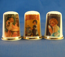 Birchcroft Thimbles -- Set of Three - Vintage Advertising - Soap Companies