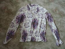 MISS SELFRIDGE white & purple patterned top/blouse Size 10 USED GOOD CONDITION