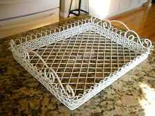"""White Wire Shabby Chic Cottage Style Serving Tray 20"""" x 16"""" x 4.5"""""""