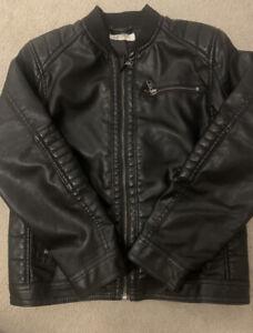 Boys H&M Faux Leather Biker Jacket Black 9-10