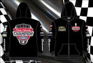 Men's Kevin Harvick Nascar Champion Zip Hoodie Black Sweatshirt Size Medium