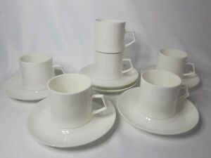 Mikasa Alpine Set Of 6 Bone China Coffee Or Tea Cups And Saucers, White