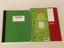 Staples Spiral Quad Ruled Engineers Graph Ruled Composition Notebook Lot Of 2