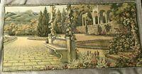 "Lake Como Tapestry Italian Terrace Garden Landscape Wall Hanging Italy 40"" x 20"""