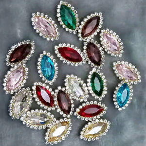 10Pcs Alloy Crystal Rhinestones Flowers Buttons for Crafts Sewing Embellishments